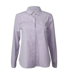 J. Crew Lilac Shrunken Dot Cotton Oxford Shirt